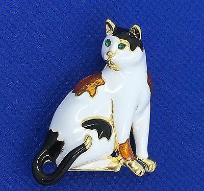 New Cat Pin Sitting Kitty Patches Swarovski Crystal Jeweled By Rucinni NIP
