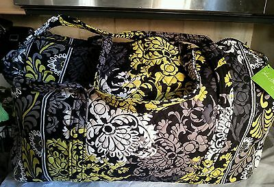 Nwt Vera Bradley Large Duffel Travel Diaper Baby Bag Black White Gold Baroque