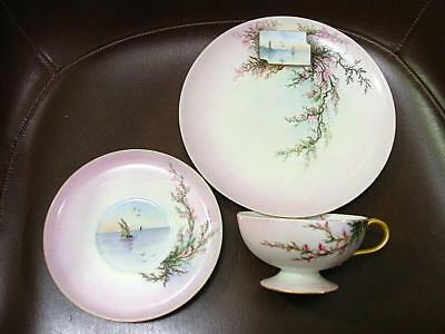 3 Pc Fine Hand Painted Haviland Limoges Cup Saucer & Plate Scenic Ship At Sunset