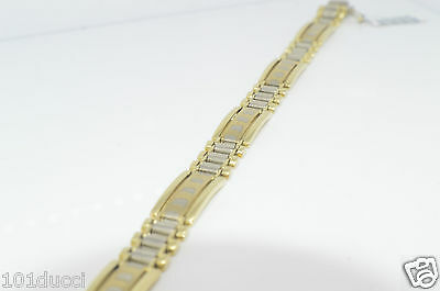 10KT 2/tones Gold Mens Bracelet 9 Inches 28 Grams