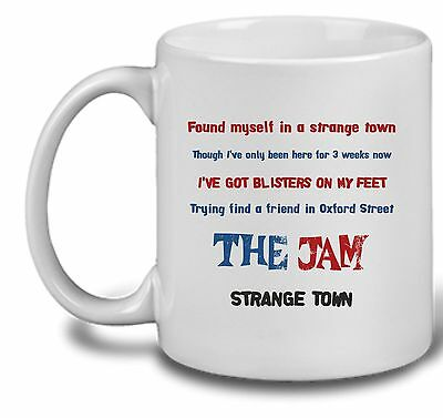 The Jam - Lyrics Mug .. Down in the Tube Station or Strange Town