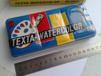 Vintage watercolour paint box tin with 12 watercolor tubes
