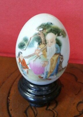 Vintage Hand Painted Asian Old Wiseman Ceramic Egg With Stand , Signed By Artist