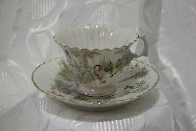 Japanese HAND PAINTED, EGGSHELL porcelain fluted  cup and saucer