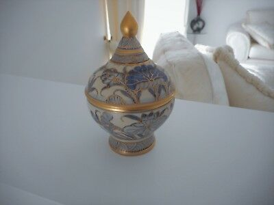 Blue Gold Hand Painted Benjarong Thailand Ceramic Urn Container Covered Bowl Lid