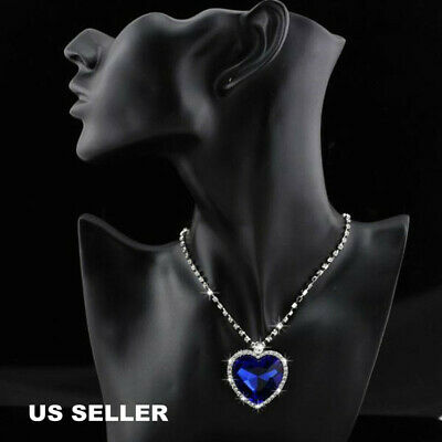 Titanic Heart Of The Ocean Blue Sapphire Crystal Necklace Pendant Mom Lover Gift
