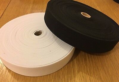 1.25 Inch / 32mm ELASTIC ROLL 25 METERS BLACK OR WHITE