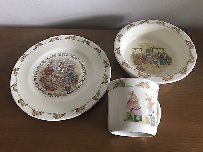 Vintage Bunnykins Trio: Royal Doulton: Made in England (c) 1936 - Cup/Bowl/Plate