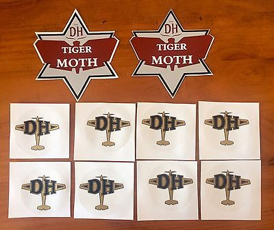 Tiger Moth De Havilland DH82 WWII New Stickers/ Decals set of 10