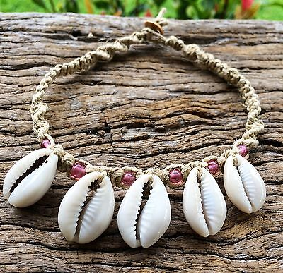 Hand Made Hemp Macrame Anklet with Cowrie Shells With Rose Pink Glass Beads