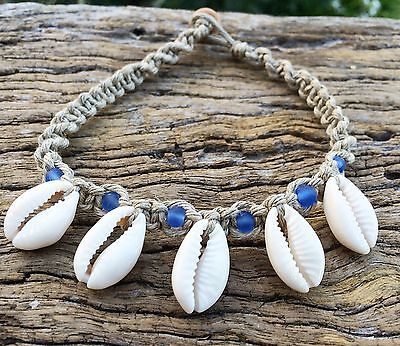 Hand Made Hemp Shell Anklet with Cowrie Shells With Perwinkle Blue Glass Beads