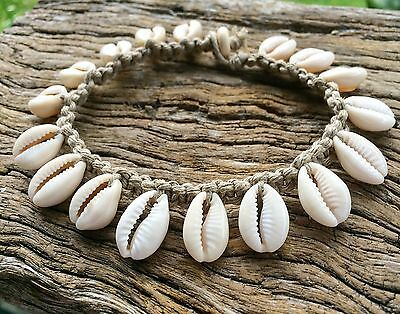 Hand Made Hemp Macrame Shell Anklet with Cowrie Shells, Bohemian