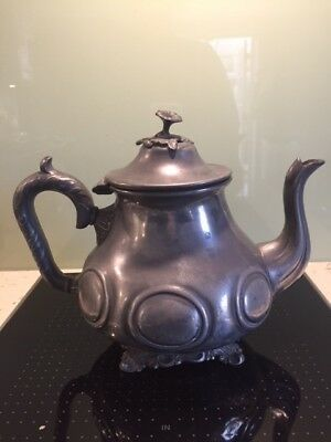 Antique Deakin and Sons pewter teapot English 1880s Sheffield
