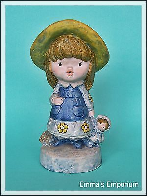 Cute Vintage Ceramic/Plaster Figurine - Little Girl with Straw Hat and Dolly