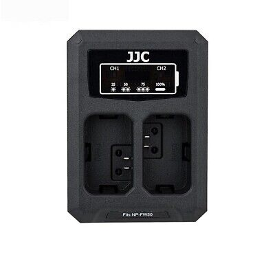 JJC USB Dual Battery Charger for Sony A7R A7 A7S A6500 A6400 A6300 RX10(NP-FW50)