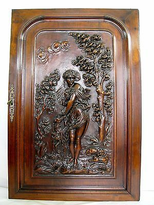 antique french carved architectural panel door wood