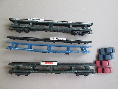 Lima HO used car carrier wagons for model train sets VGC! Fiat Mercedes BR