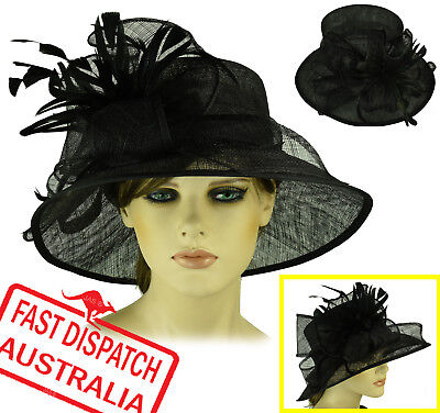 Melbourne Cup Carnival Race Wedding Church Evening Party Derby Day Hat BLACK