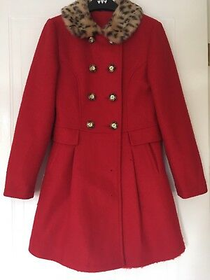 Stunning George Red Wool Mix Winter Coat With Fur Collar Age 11-12 Vgc
