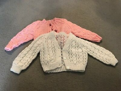 hand knitted baby cardigans Pink White Size 0-3 Months