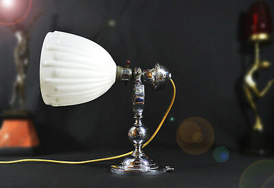 Rare numbered Edwardian heavy chrome Naval Gimbal lamp Opaline milk glass shade