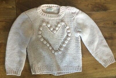 NEXT GIRLS Pink Warm winter Jumper long sleeved top Heart Age 4 5 years 110cm
