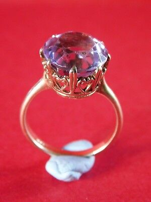 ANTIQUE 9ct GOLD AMETHYST STONE RING very attractive setting