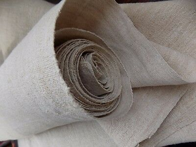 Antique homespun Raw Hemp medium heavy Fabric 5,2x0,62m 19thC Great condition
