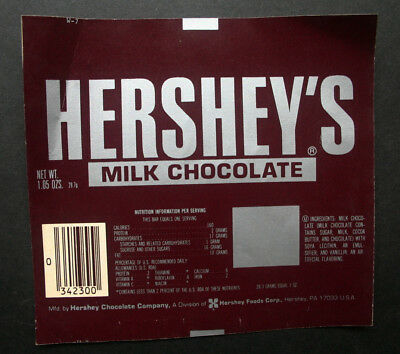 HERSHEY'S MILK - 1980's HERSHEY U.S.A. Chocolate Candy Bar Wrapper