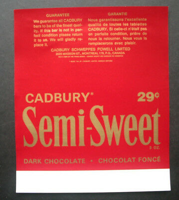SEMI-SWEET 29c - 1970's CADBURY CANADA Chocolate Candy Bar Wrapper