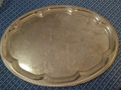Silver-plated serving platter.