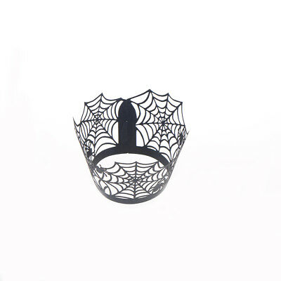 10pcs Halloween Spider Cobweb Cupcake Wrappers Liners Holders Cake Decoration 5H
