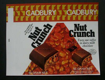 NUT CRUNCH 85g - 1970's CADBURY AUSTRALIA Chocolate Candy Bar Wrapper