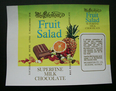 FRUIT SALAD - 1960's MacROBERTSON'S AUSTRALIA Chocolate Candy Bar Wrapper