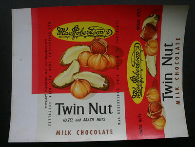 TWIN NUT - 1960's MacROBERTSON'S AUSTRALIA Chocolate Candy Bar Wrapper