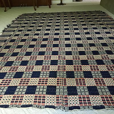Double-Woven Coverlet Antique Heirloom  With Documentation - Rare - Circa 1850
