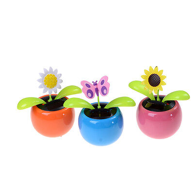 New Solar Powered Flip Flap Dancing Flower For Car Decor Dancing Toy Gift YP
