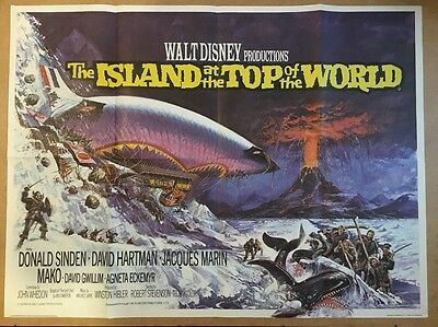 ISLAND AT THE TOP OF THE WORLD 1974 Donald Sinden BRIAN BYSOUTH UK QUAD POSTER
