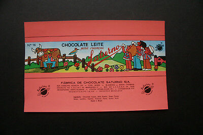 CHOCOLATE LEITE - 1970's SATURNO BRAZIL Chocolate Candy Bar Wrapper
