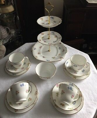A Beautiful Vintage Adderley Fine Bone China Tea Set & Cake Stand New Price