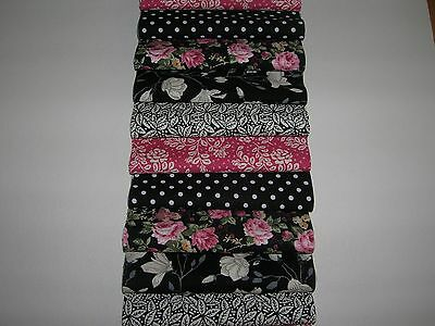 "40 x 4"" SQUARES/PIECES BLACK & PINK 100% COTTON PATCHWORK/QUILTING/FABRIC  BL4"