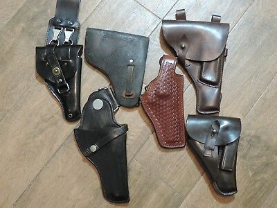 Lot of 6 Vintage Leather Holsters for Different Pistol Guns (TT,Walther & Other)