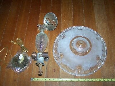 "Vintage 1940s Frosted Glass Art Deco Chandelier 4 Light Ceiling Fixture 14""Shade"