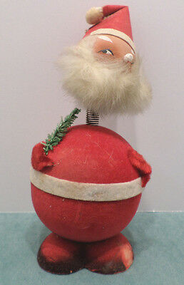 Antique Cardboard Santa Claus Candy Container Bobble Head Germany