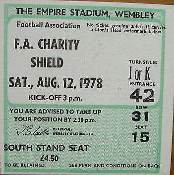 Ticket Nottingham Forest v Ipswich Town FA Charity Shield at Wembley 1978/79