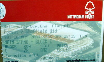 Ticket Nottingham Forest v Sheffield United Div 1 Play Off Semi Final 2002/03