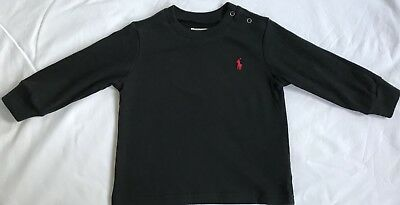 New Ralph Lauren Baby Boys Black Cotton Jersey T-shirt 6M