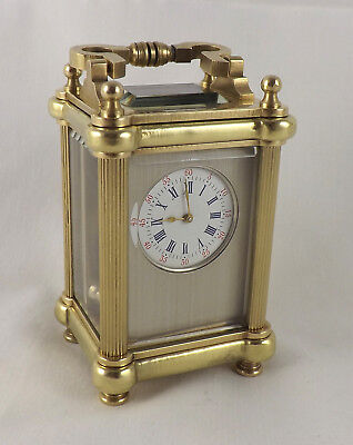 Excellent Ornate Miniature Masked Dial Brass Carriage Clock - Cleaned & Serviced