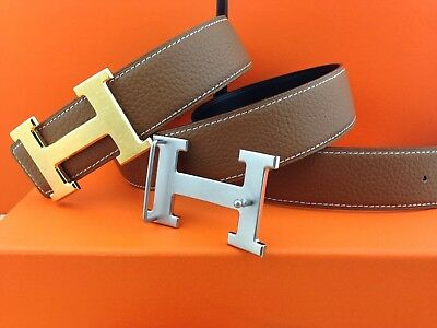 New Authentic Hermes men's belt 38mm brown Double Buckle 2H Gold&Silver 110cm
