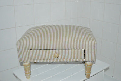 Vintage Tan Striped Style Fabric Footstool With Storage Draw Ottoman Pouffe